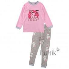 (322988) [р. 92] Пижама для девочки. MARIO KIDS 02-28-10. Розовый С Серым. Интерлок