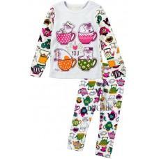 (126355) [р. 122] Пижама для девочки. ВИТУСЯ 1005009/1. Белый С Сиреневым. Интерлок
