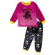 (126223) [р. 122] Пижама теплая для девочки из велсофта. LOTEX 245-21/1. Малиновый С Синим. Велсофт