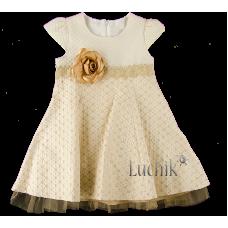 (86407) [р. 92] Платье нарядное для девочки ROSE СREAM (с коротким рукавом). LILAX 3623. Кремовый. Жаккард, Фатин