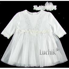(76871) [р. 80] Платье нарядное для девочки. HAPPY TOT 649. Белый. Интерлок, Фатин