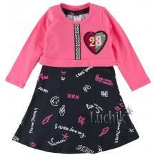 (112656) [р. 98] Платье с болеро для девочки. PINK 009665. Малиновый/Черный. Интерлок