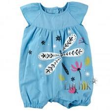 (179789) [р. 86] Полукомбинезон (песочник) для девочки. BEMBI ПК173. Голубой. Рубашечная Ткань
