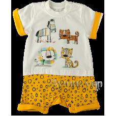 (107088) [р. 68] Полукомбинезон (песочник) летний для малышей. BEBEZADE 00297. Молочный С Желтым. Кулир