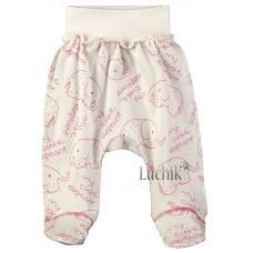 (128800) [р. 62] Ползунки-штанишки для девочки. BABY CITY 1331/1. Молочный С Розовым. Интерлок