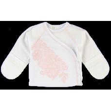 (77226) [р. 62] Распашонка теплая для новорожденного ECO STYLE. ЛЯ-ЛЯ 1Т04ф. Белый С Розовым. Футер С Начесом
