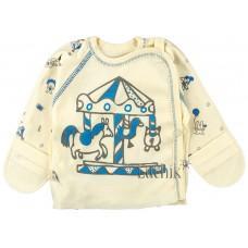 (82895) [р. 56] Распашонка для новорожденного ВЕСЕЛЫЙ ПАРК. SMIL 101153. Рисунок На Кремовом. Интерлок