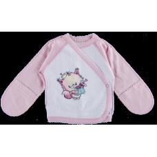 (79744) [р. 56] Распашонка трикотажная для новорожденного ЗАБАВНЫЕ ЗВЕРЯТА. ЛЯ-ЛЯ 1А03. Розовый. Интерлок