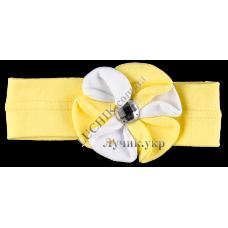(52296) [р. 46 - 48 см] Повязка на голову для девочки КАТРУСЯ. BABASIK 0007-1. Желтый С Белым. Ластик/Рибана