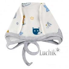 (131447) [р. 36 см] Чепчик для новорожденного. SWEET MARIO 10-01-4. Молочный С Голубым. Интерлок