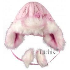 (49236) [р. 48 см] Шапочка теплая для девочки САЛЛИ сезон ЗИМА. DEMBO HOUSE 0027. Розовый. Плащевка
