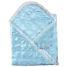 (54675) [р. Стандартный] Одеяло-конверт атласный для новорожденного МИШКА (размер 90*90см). MINIKIN 0016. Голубой. Шелк/Атлас