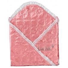 (54676) [р. Стандартный] Одеяло-конверт атласный для новорожденного МИШКА (размер 90*90см). MINIKIN 0016. Коралл. Шелк/Атлас